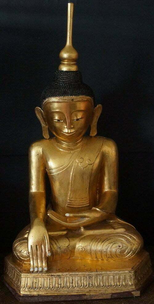 18th Century Burmese Hollow Lacquer Shan Buddha Statue