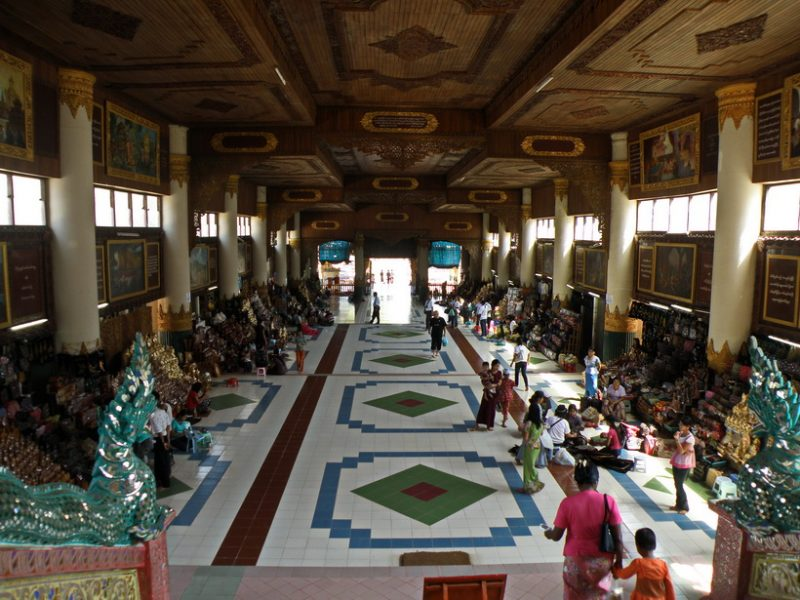 Entrance to Shwedagon Pagoda lined with Handicraft shops