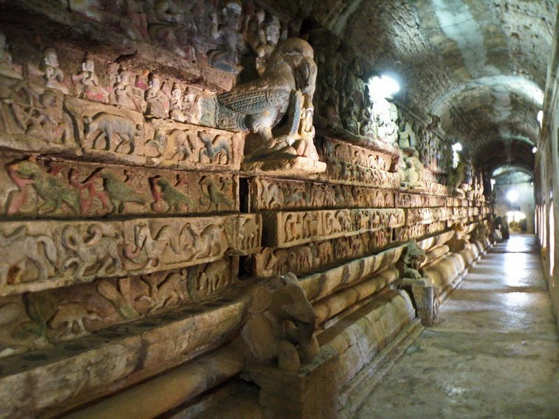 Ancient stone wall carvings inside Shite-Thaung Temple