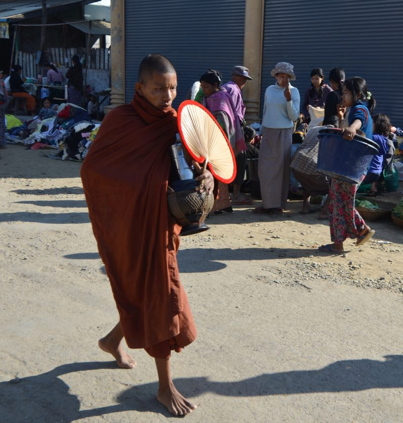 Monk collecting alms Sittwe,  Rakhine State