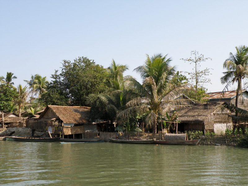 Village on banks of river