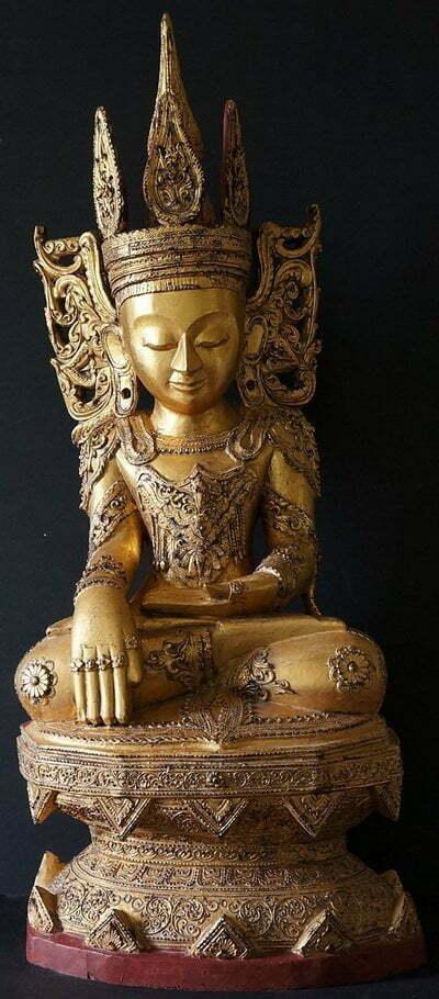 Burmese Teak Wood Shan Buddha Statue