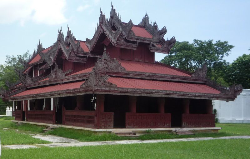 Wooden Monastery in gardens of Mandalay Palace